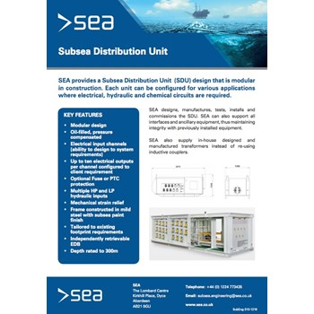 Subsea Distribution Unit - Technical Specifications cover photo