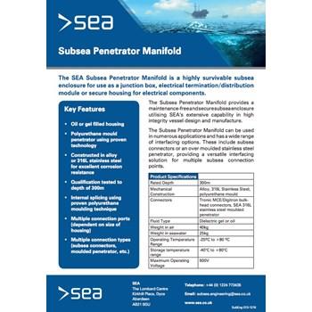 Subsea Penetrator Manifold - Technical Specifications cover photo