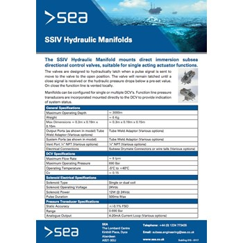 SSIV Hydraulic Manifolds - Technical Specifications cover photo