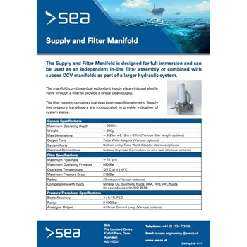 Supply & Filter Manifolds - Technical Specifications cover photo