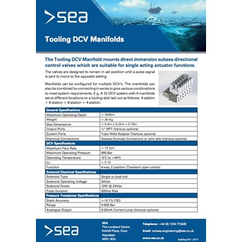 Tooling DCV Manifolds - Technical Specifications cover photo